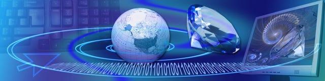横幅清楚的连接数水晶互联网ww 免版税库存照片