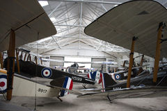 WW1 aircraft in hanger. Rows on British World War I aircraft in hanger Royalty Free Stock Photography