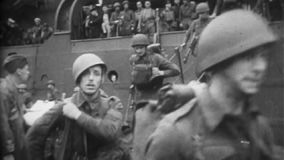 WW2 - Allied Soldiers Marching Off Ship. WW2 - Allied Soldiers March Off Ship stock video footage
