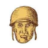 WW2 American Soldier Head Drawing Royalty Free Stock Photo