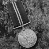 WW2 British Defense Medal - Film Grain Stock Photo