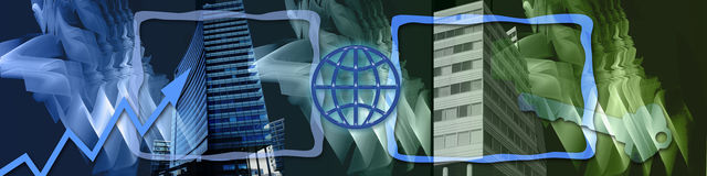 WW business and the key to success. This banner has a creative abstract background. The big business buildings are symbols for success. The globe, key and Stock Photos