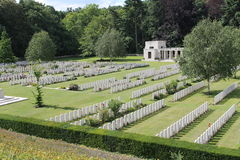 WW1 Buttes New British Cemetery and New Zealand Memorial in Polygon Wood near Zonnebeke and Ypres, Belgium Royalty Free Stock Image