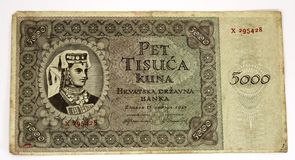 WW2 Croatian paper money kuna Royalty Free Stock Images