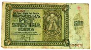 WW2 Croatian paper money kuna Royalty Free Stock Photography