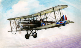 WW1 DH4. WW1 British DH4 in flight over France during 1914-18 Royalty Free Stock Images