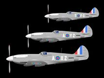 WW2 Fighter Aircraft On Patrol. 3 World War II fighter planes out on patrol against a black background Stock Image