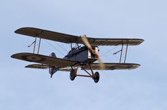 WW1 fighter airframe. NORTHILL, UK - OCTOBER 5: A vintage SE5a fighter aircraft from the WW1 era prepares to land at the Old Warden aerodrome having given a Royalty Free Stock Images