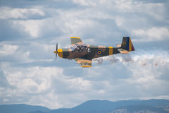 WW2 fighter. American World War 2  fighter flying above airshow Stock Images