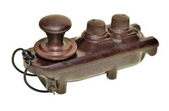 Ww2 flame proof aircraft morse key. World war two era brown bakelite morse code sending key with insulated terminals and case such as would be used to key a Stock Photos