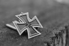 WW2 German Nazi Iron Cross - Film Grain Royalty Free Stock Photo