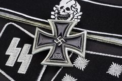 WW2 German Waffen-SS military insignia with Iron Cross award Stock Photo