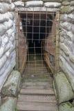 WW1 geulen dichtbij Ypres in België stock afbeelding