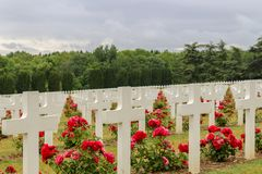 Grave stones at a WW1 cemetery royalty free stock photo