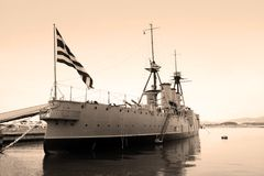WW I Battleship, Flagship of Greek Navy Stock Photos