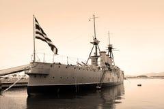 WW I Battleship, Flagship of Greek Navy. Black and white photo of a world war one greek battleship,  flagship in the Greek navy Athens, Greece Stock Photos