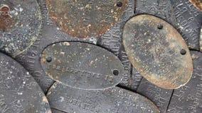 """WW I Erkennungsmarke: Ciò era etichette di identificazione militari tedesche, spesso ha chiamato un  del tag†del """"dog stock footage"""
