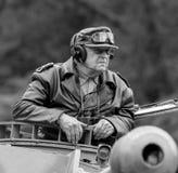 WW II German SS  commander directing on a German Panzer tank Stock Photography