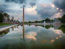 WW II Memorial at sunset Stock Photo