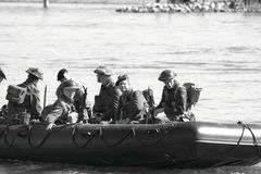 WW II soldiers crossing the river stock photo