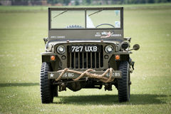 WW2 Jeep. Duxford, UK- 25th May 2014: A WW2 US Jeep seen at Duxford Airshow Royalty Free Stock Photos