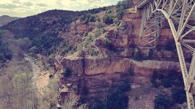 WW Midgley Bridge. At the point where is attaches to the canyon wall rocks, located in Sedona, Arizona (USA royalty free stock photos
