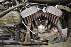 WW2 Military Motorcycle weathered engine Close-up Royalty Free Stock Photos