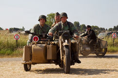 WW2 motorcycle and reenactors Stock Photography