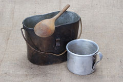 WW1 period Mess Kit, wooden spoon and aluminium mug Royalty Free Stock Images