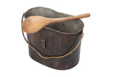 WW1 period Mess Kit and wooden spoon Royalty Free Stock Photography