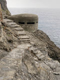 WW2 pilbox,bunker. Old war defences along coast, Italy. Stock Photos