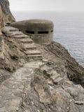 WW2 pilbox,bunker. Old war defences along coast, Italy. Stock Photos