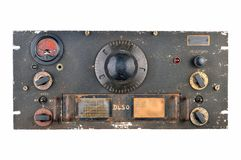 Ww2 radio receiver. World war 2 era allied radio receiver such a would have been used to monitor enemy radio traffic. Crinkle black paint front panel with meter Royalty Free Stock Photo