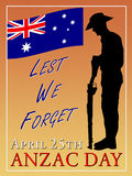 WW1 recruitment Style, ANZAC Day poster. Royalty Free Stock Photography