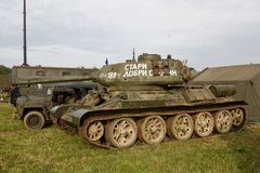 WW2 Russian T34 tank. BELTRING, UK - JULY 27: A WW2 Russian army T34 MBT stands on static display for the public to view throughout the War & Peace Revival show Royalty Free Stock Image