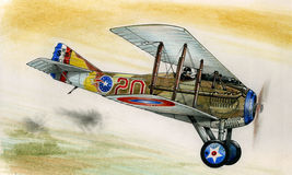 WW1 Spad XIII. In flight over France during 1914-18 Stock Photography