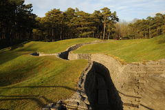 WW1 trenches at Vimy Ridge, Belgium. The shell holes and trenches landscape of the WW1 battlefield at Vimy Ridge, belgium Royalty Free Stock Photos
