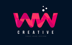 WW W Letter Logo with Purple Low Poly Pink Triangles Concept Stock Image