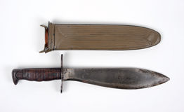 WW1 American combat knife. Great War US Army Bolo Knife M1917 in fluted steel type scabbard with M1910 belt hook Royalty Free Stock Photo
