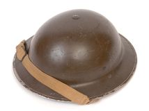 WW11 British steel helmet. The ubiquitous British WW11 Mk.II steel helmet used by the military and civil defence services Stock Photography
