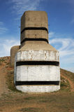 WW11 German coastal artillery bunker Guernsey. German MP4 LAngle artillery observation tower, Guernsey, Channel Islands. Each of the five observation levels Stock Image