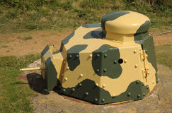 WW11 Turret bunker Guernsey. WW11 German used Renault Ft17 turret mounted in a Tobruk bunker at the restored Batterie Dollmann, Guernsey Stock Photography