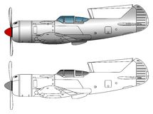 WW2 fighter plane vector art. Side view of Lavochkin La5fn/La7 vector illlustration Royalty Free Stock Photography