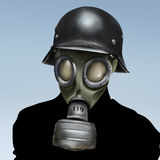 WW2 Gas Mask. A surreal portrait painting of a person wearing a German world war 2 gas mask and helmet Royalty Free Stock Photo
