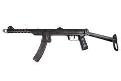 Ww2 machinepistool dat op een witte achtergrond wordt geïsoleerd Stock Foto