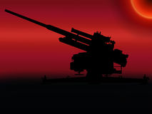 WW2 Sunset Anti Aircraft Gun Royalty Free Stock Image