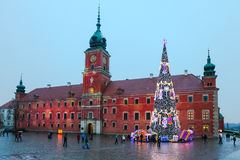 WWARSAW, POLAND - January 03, 2015: The main Christmas Tree  with colorful lights  on the Royal Castle Stock Image