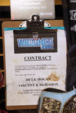 WWE-legend Hulk Hogan vs WWE-ägareVincent K McMahon avtal royaltyfri foto