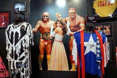 WWE Legend Macho Man and Hulk Hogan Mega Powers outfits, hats, s Stock Photo