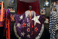 WWE Legend Macho Man / King outfits and photos displays. SAN JOSE - MARCH 28: WWE Legend Macho Man / King outfits and photos displays at WWE Axxess event at the Royalty Free Stock Image